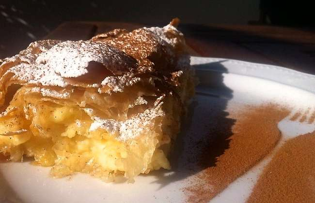 Greek Bougatsa recipe (Custard Pie with Phyllo and ground Cinnamon)