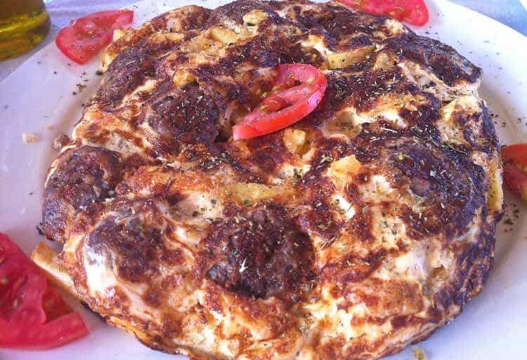 Froutalia (Greek Omelette with Sausages and Potatoes)