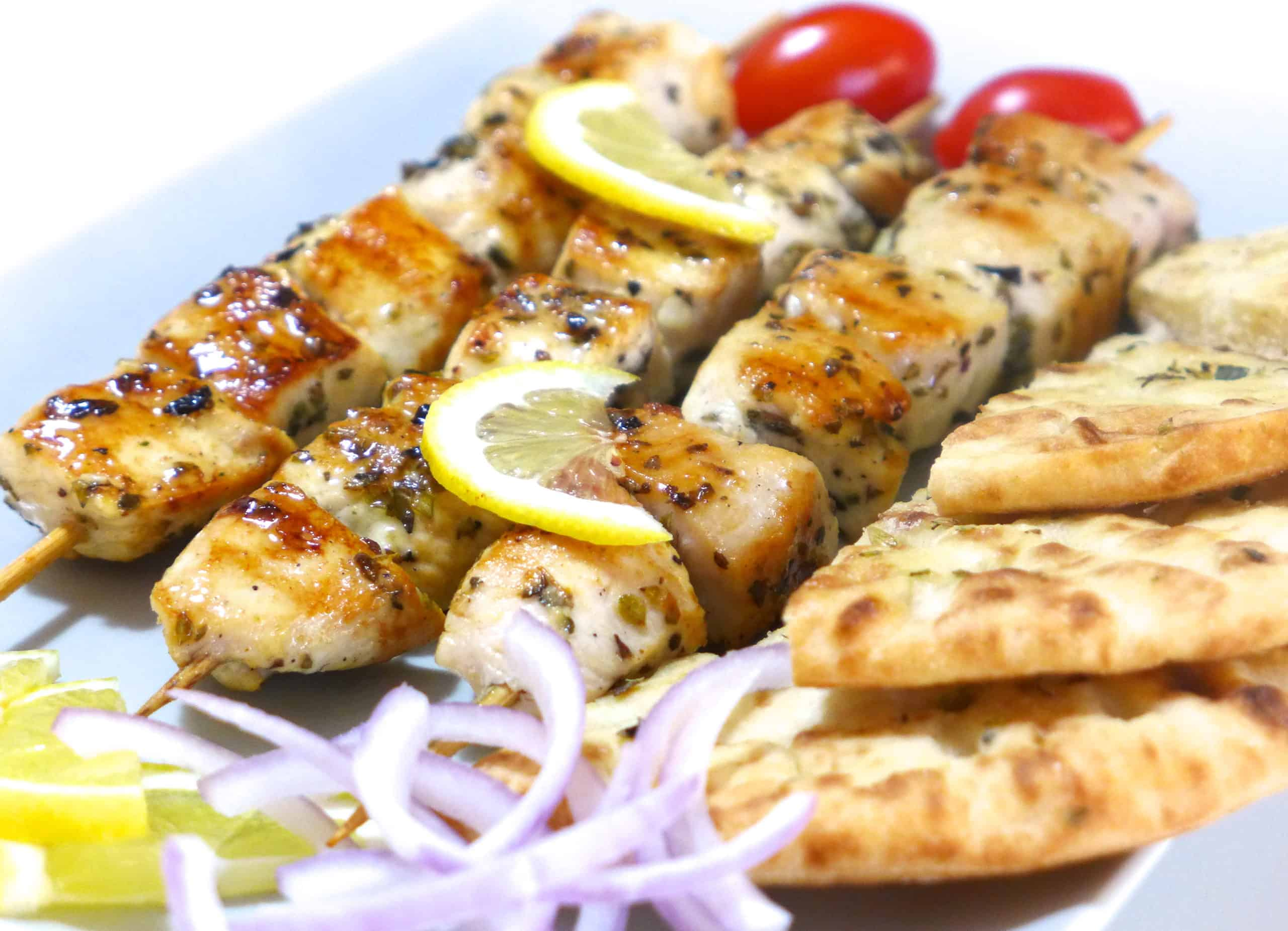 Greek Chicken Souvlaki Recipe Skewers With Tzatziki My Greek Dish