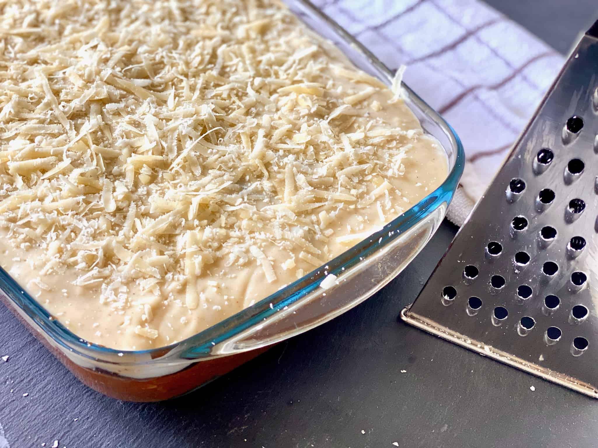 Greek moussaka ready to bake