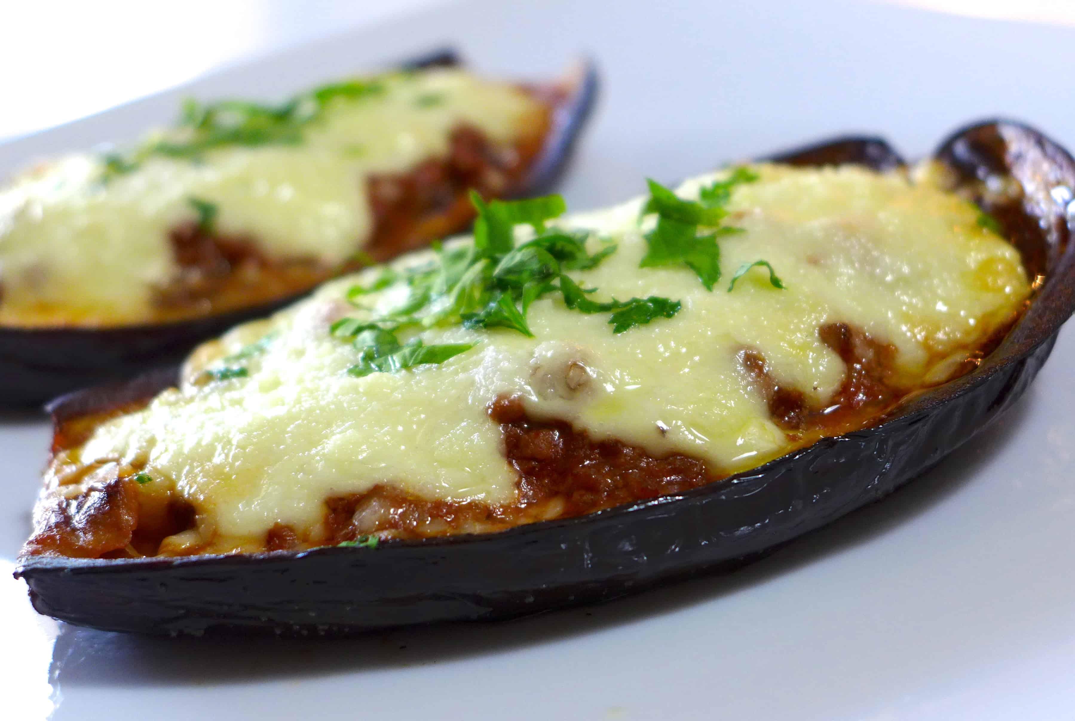 Melitzanes Papoutsakia (Stuffed Eggplant) Recipe — Dishmaps