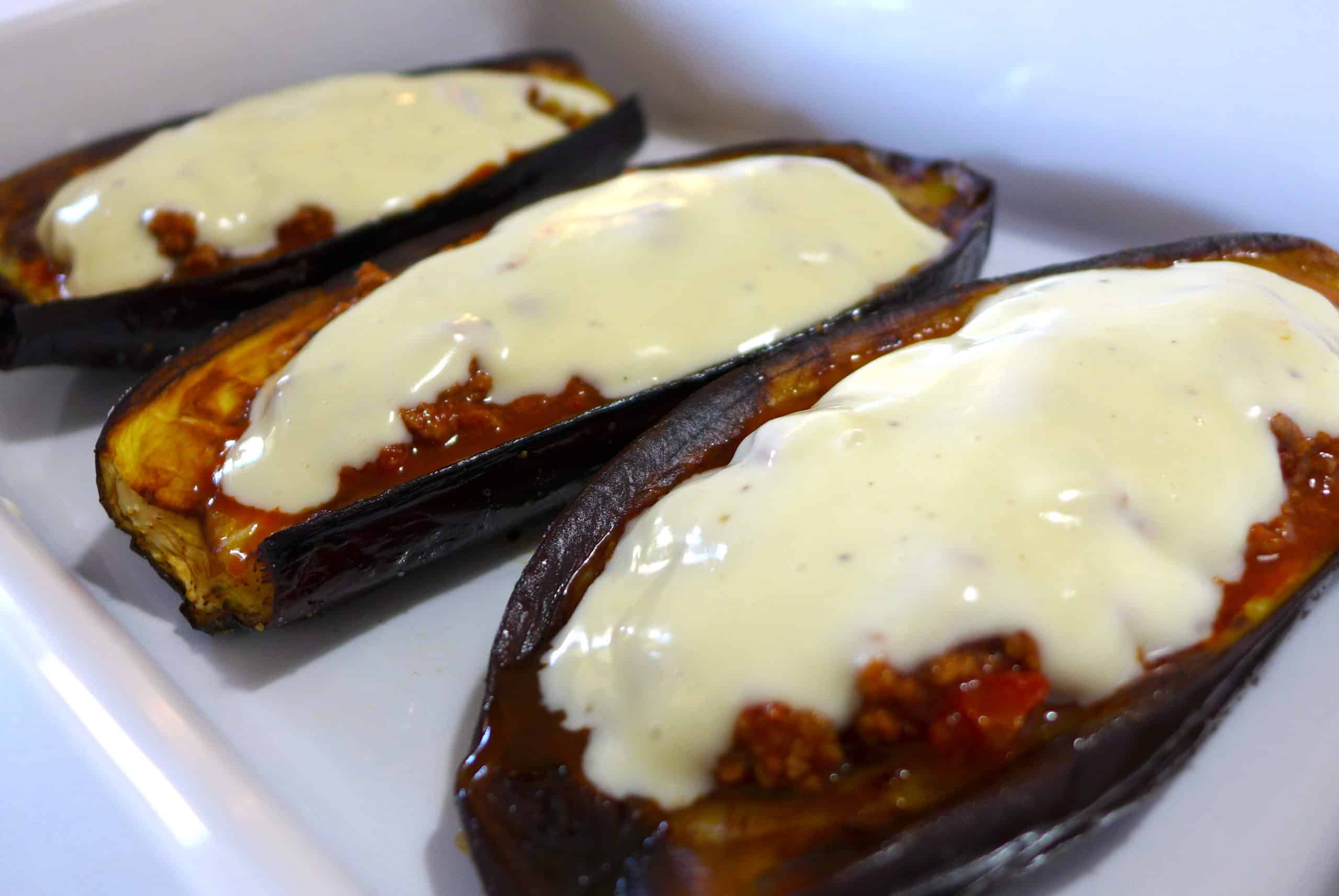 Greek stuffed Eggplant recipe (Melitzanes Papoutsakia)-prep3