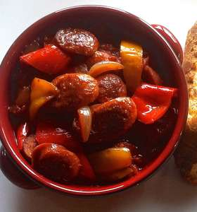 Spetsofai (Spicy Sausages with Peppers and Tomato sauce)