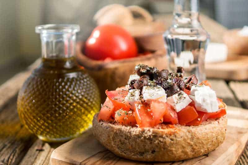 Traditional Cretan Ntakos / Dakos recipe (Rusks with tomatoes and feta cheese)