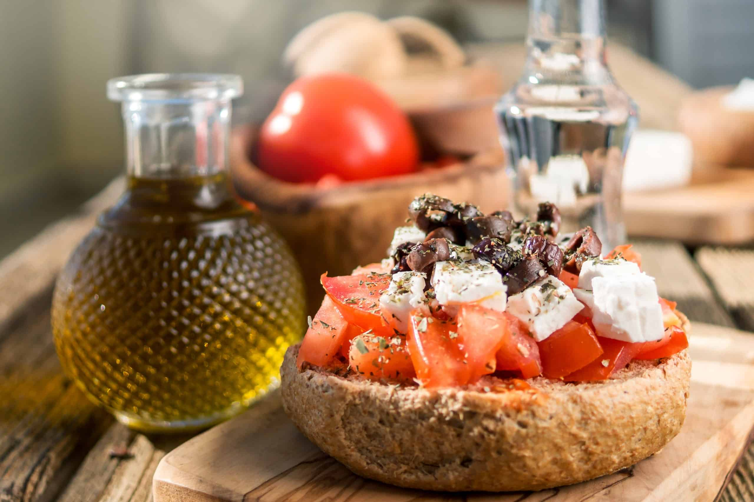 Traditional Cretan Ntakos Dakos Recipe Rusks With Tomatoes And Feta Cheese My Greek Dish