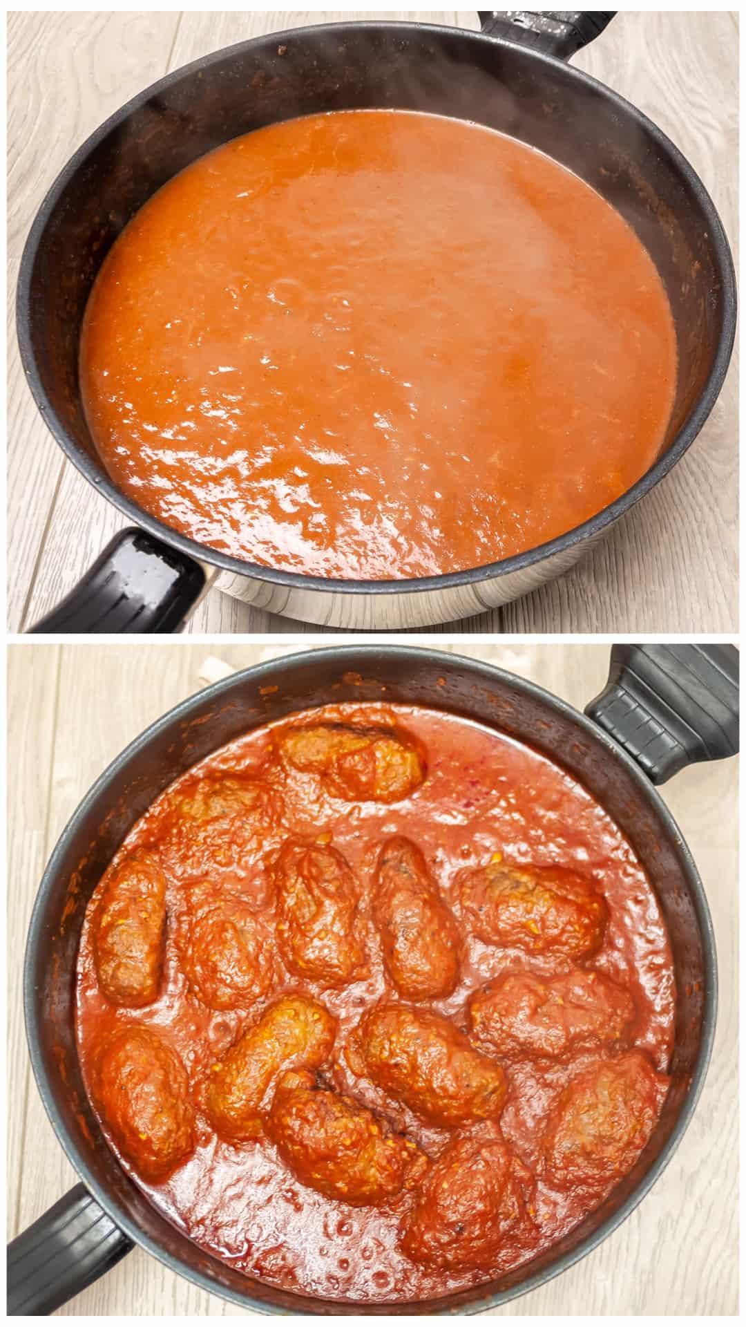 Traditional Soutzoukakia recipe (Greek baked Meatballs in tomato sauce) - preparing the sauce