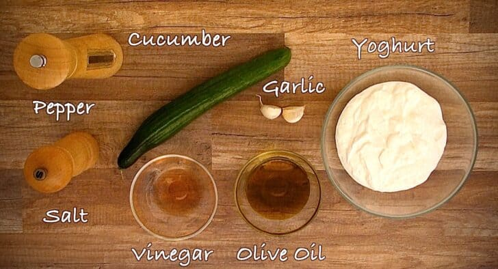 Ingredients for an Authentic Greek Tzatziki sauce recipe