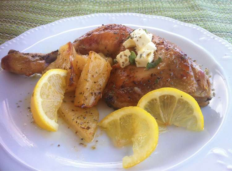 Greek Lemon Chicken with Crispy Potatoes (Kotopoulo Lemonato)