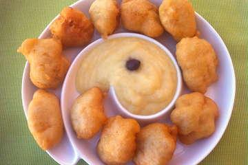 Cod Fritters with Garlic Potato Puree (Bakaliaros Skordalia)