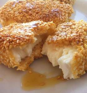 Fried Feta with Honey and Sesame Seeds Recipe