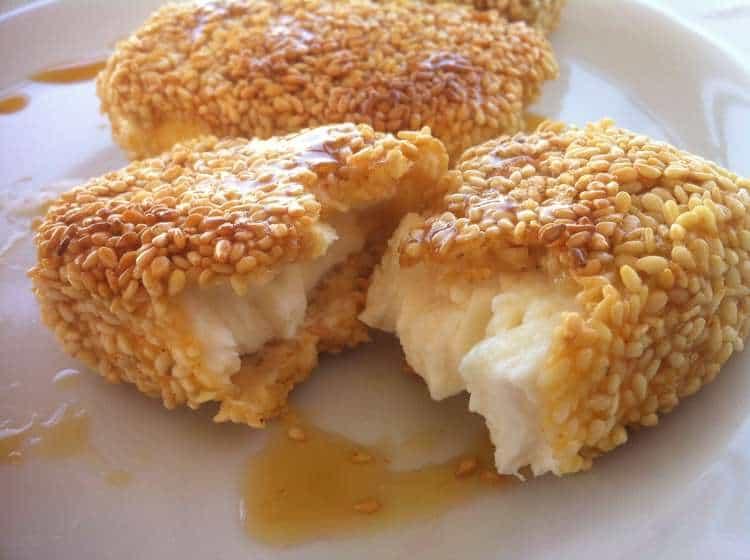 Fried Feta with Honey and Sesame Seeds