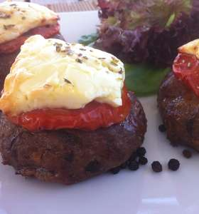 Greek Bifteki (Burger) with Feta cheese