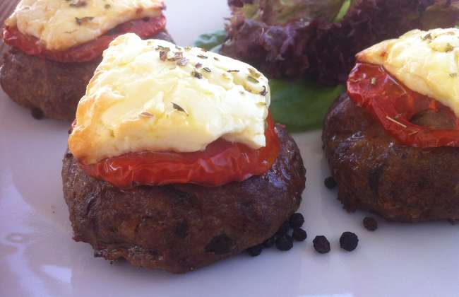Greek Burgers with Tomato and Feta Cheese