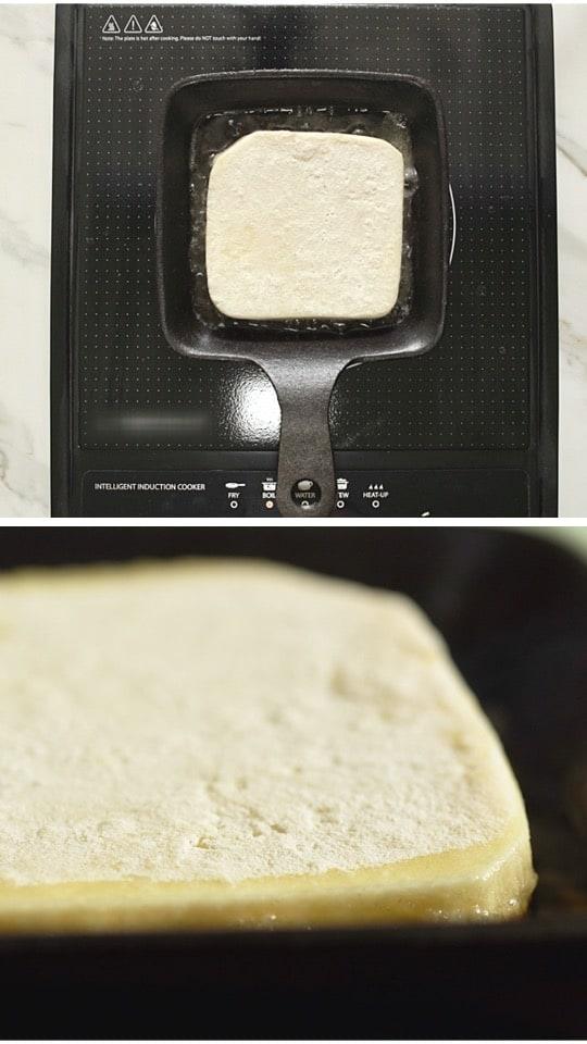 Greek cheese Saganaki frying