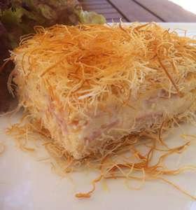 Kataifi Dough Pie with Cheese and Bechamel sauce
