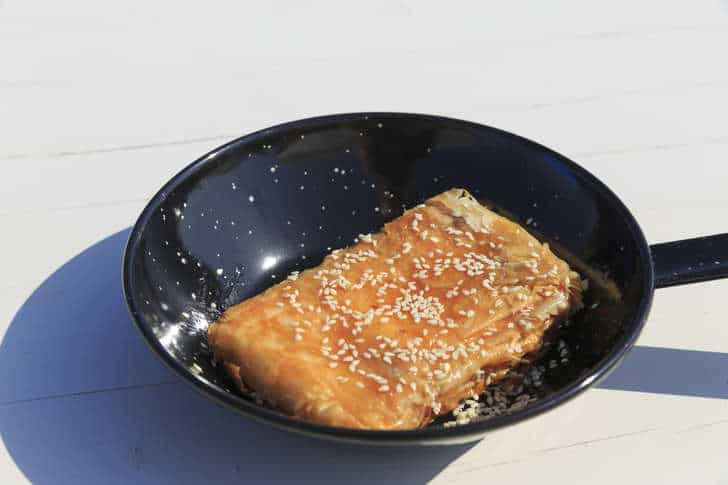 Phyllo-wrapped Feta cheese appetizer with Honey and Sesame seeds