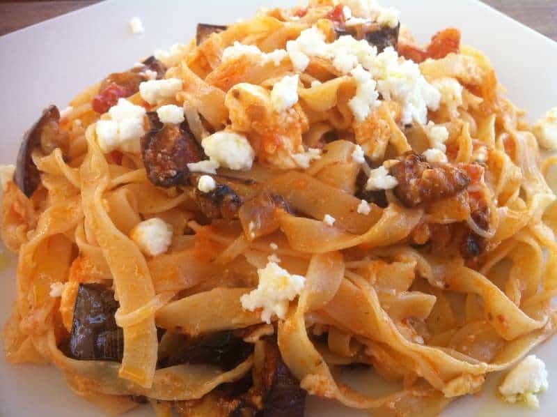 Tagliatelle with Eggplants and Feta Cheese