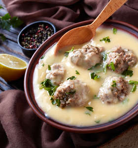 Traditional Greek Meatball Soup (Giouvarlakia/ Youvarlakia) in Egg-lemon sauce recipe