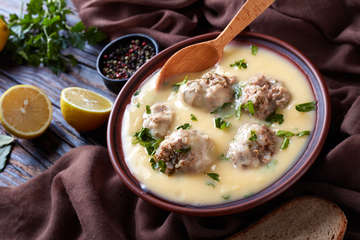 Traditional Greek Meatball Soup (Giouvarlakia/ Youvarlakia) in Egg-lemon sauce recipe