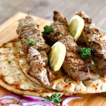 Greek pork souvlaki skewers (Kebabs)