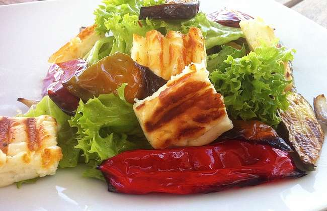 Greek Grilled Halloumi salad recipe with Roasted vegetables