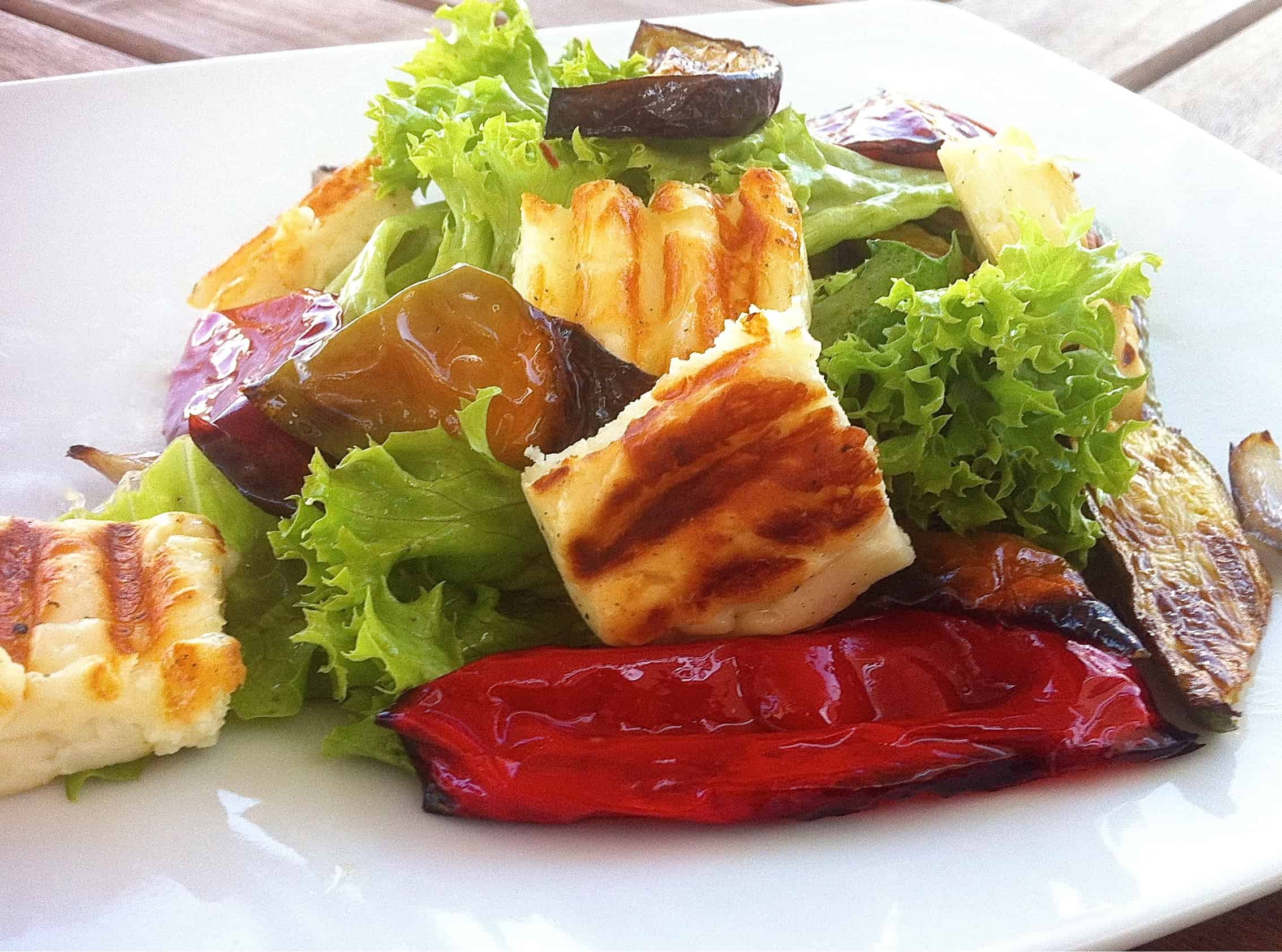 grilled halloumi and roasted vegetables salad recipe my