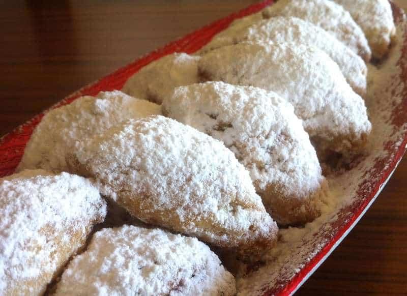 Walnut-filled, Crescent -Shaped Pastries (Skaltsounia)