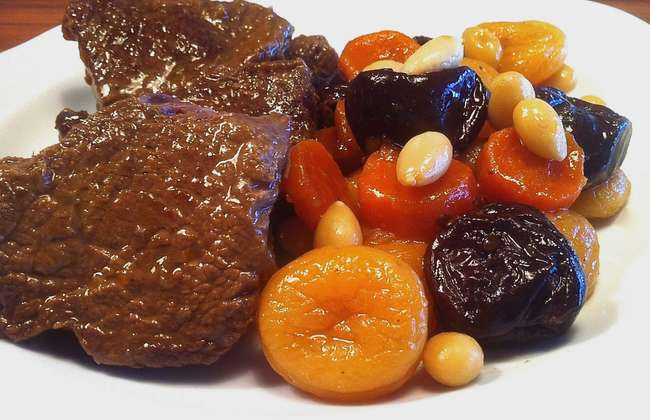 Amazing Christmas Veal Stew Garnished with Fruit & Nuts