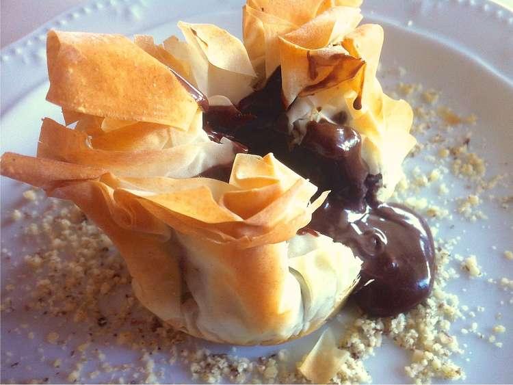 Chocolate Soufflé- Baklava Pouches