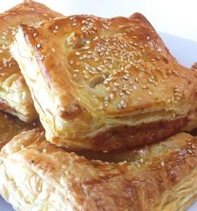 Puff Pastry Parcels recipe stuffed with Caramelised Apples and Pork Sausages