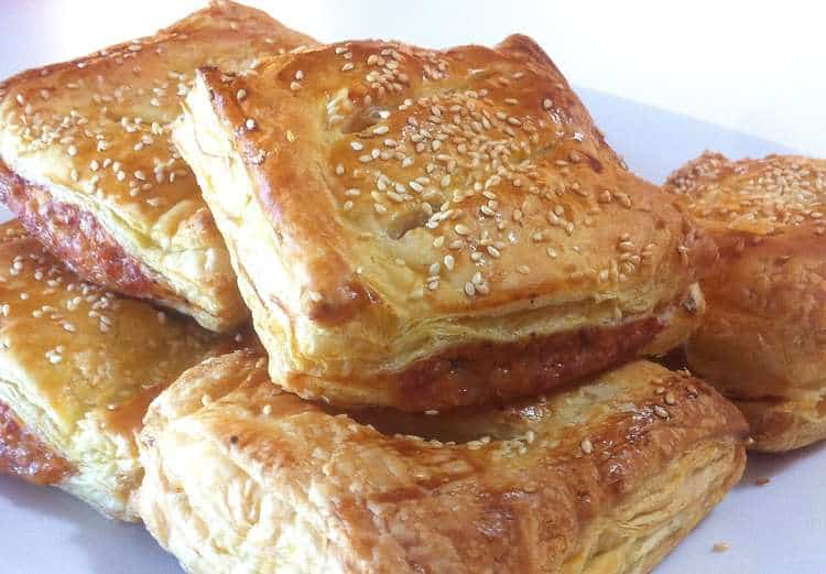 Puff pastry Parcels with caramelised Apples and pork Sausages