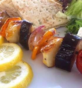 Vegetable Skewers (Souvlaki) with Halloumi and Pita Bread