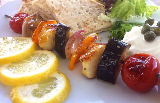 Vegetable Skewers (Souvlaki) with Halloumi and Pita Bread