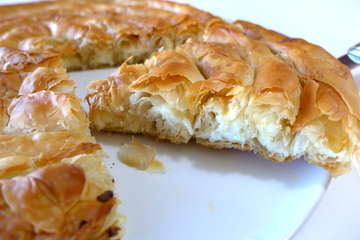 Greek 'snail'-shaped Cheese pie recipe (Kichi Kozanis)
