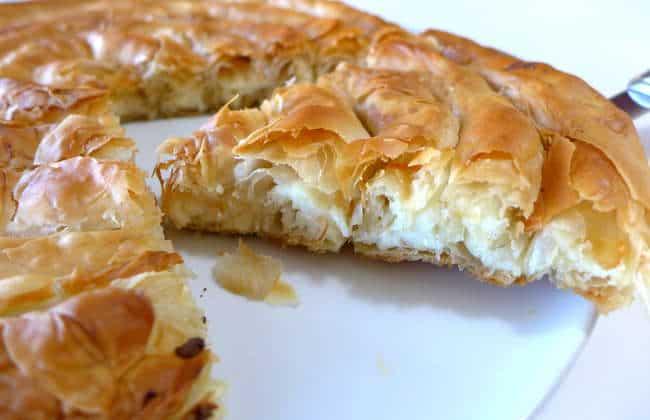 Spiral-shaped Greek Cheese pie recipe (Kichi Kozanis)