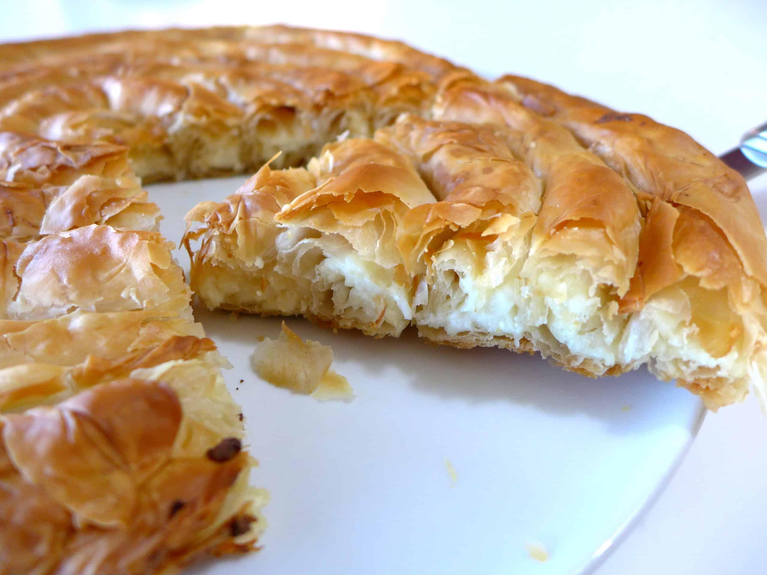 Spiral Shaped Greek Cheese Pie Recipe Kichi Kozanis My Greek Dish