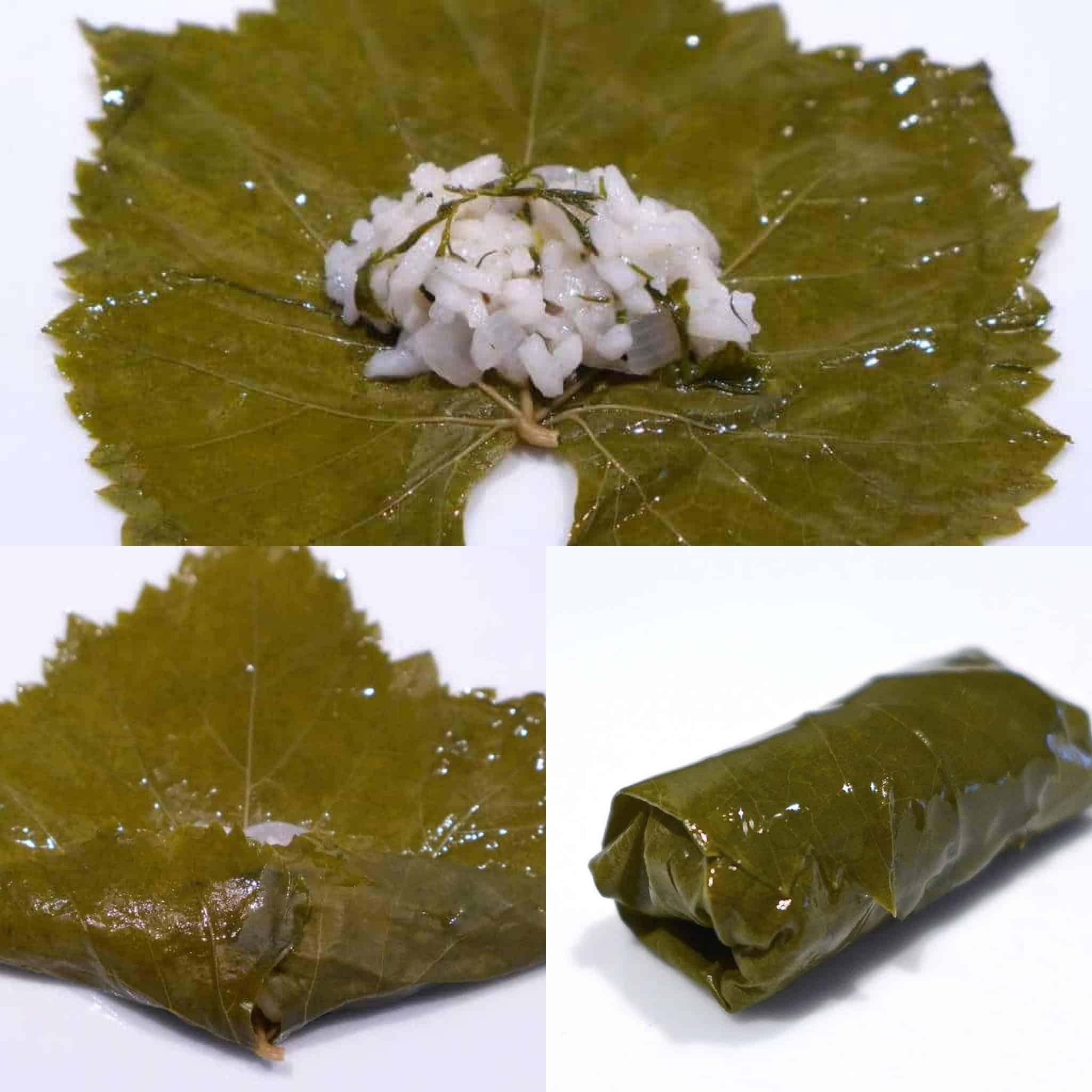 Greek Dolmades preparation (Stuffed Grape Leaves)