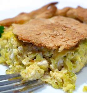 Traditional Zucchini pie recipe with Feta cheese (Greek Kolokithopita)