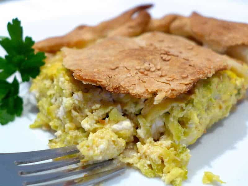 Traditional Zucchini pie recipe with Feta cheese (Greek Kolokithopita)