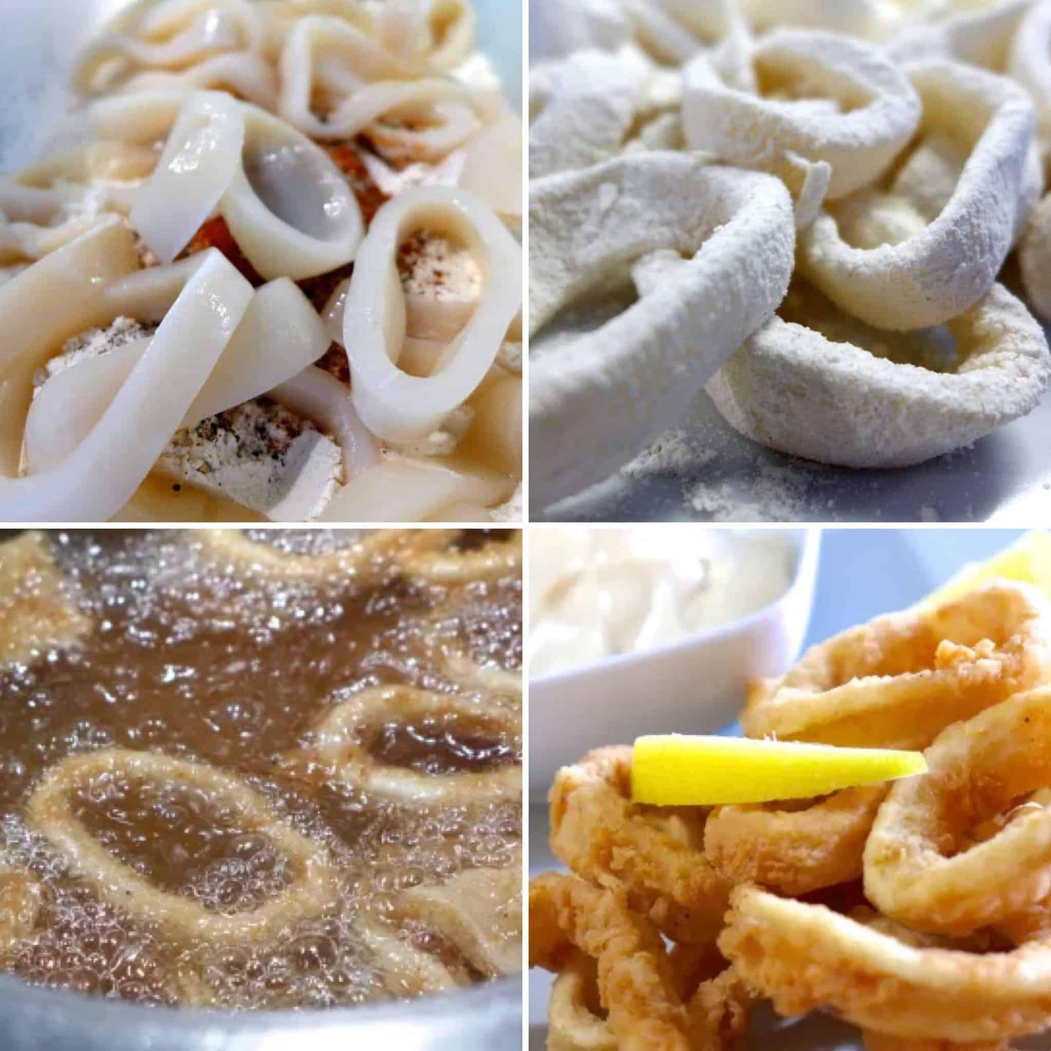 Crispy Fried Calamari recipe (Kalamarakia Tiganita) preparation