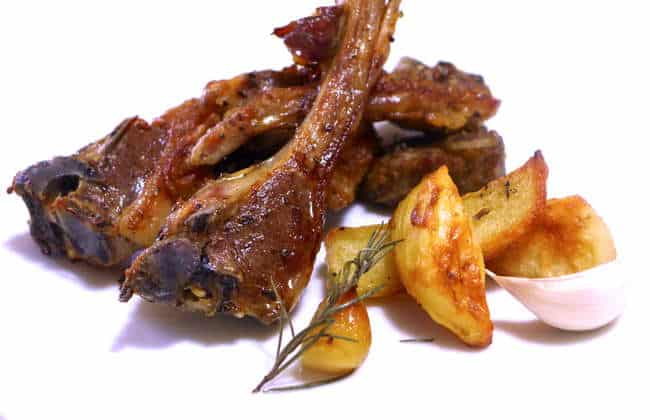 Marinated Greek Lamb Chops with Roast Potatoes (Paidakia)