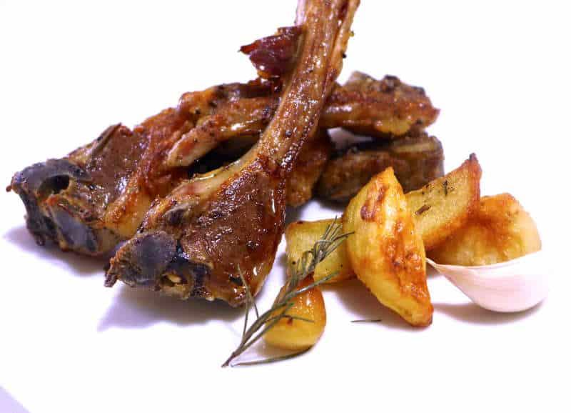 Marinated Greek Lamb Chops with Roast Potatoes (Paidakia)