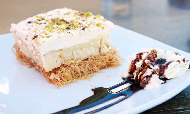 Greek Ekmek Kataifi recipe (Custard and whipped cream pastry with syrup)