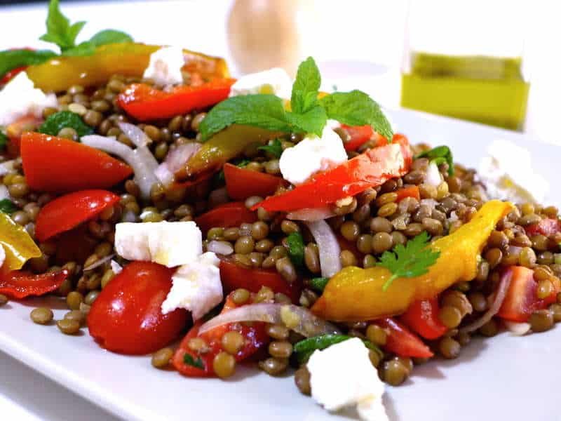 Delicious Greek Lentil Salad Recipe with Feta cheese (Fakes Salata)