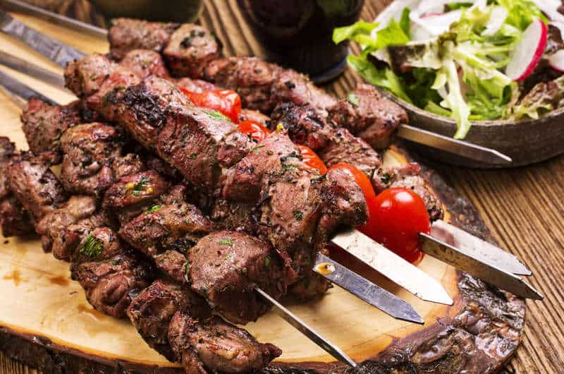 Marinated greek lamb souvlaki recipe skewers with pita and marinated greek lamb souvlaki recipe skewers with pita and tzatziki forumfinder Choice Image