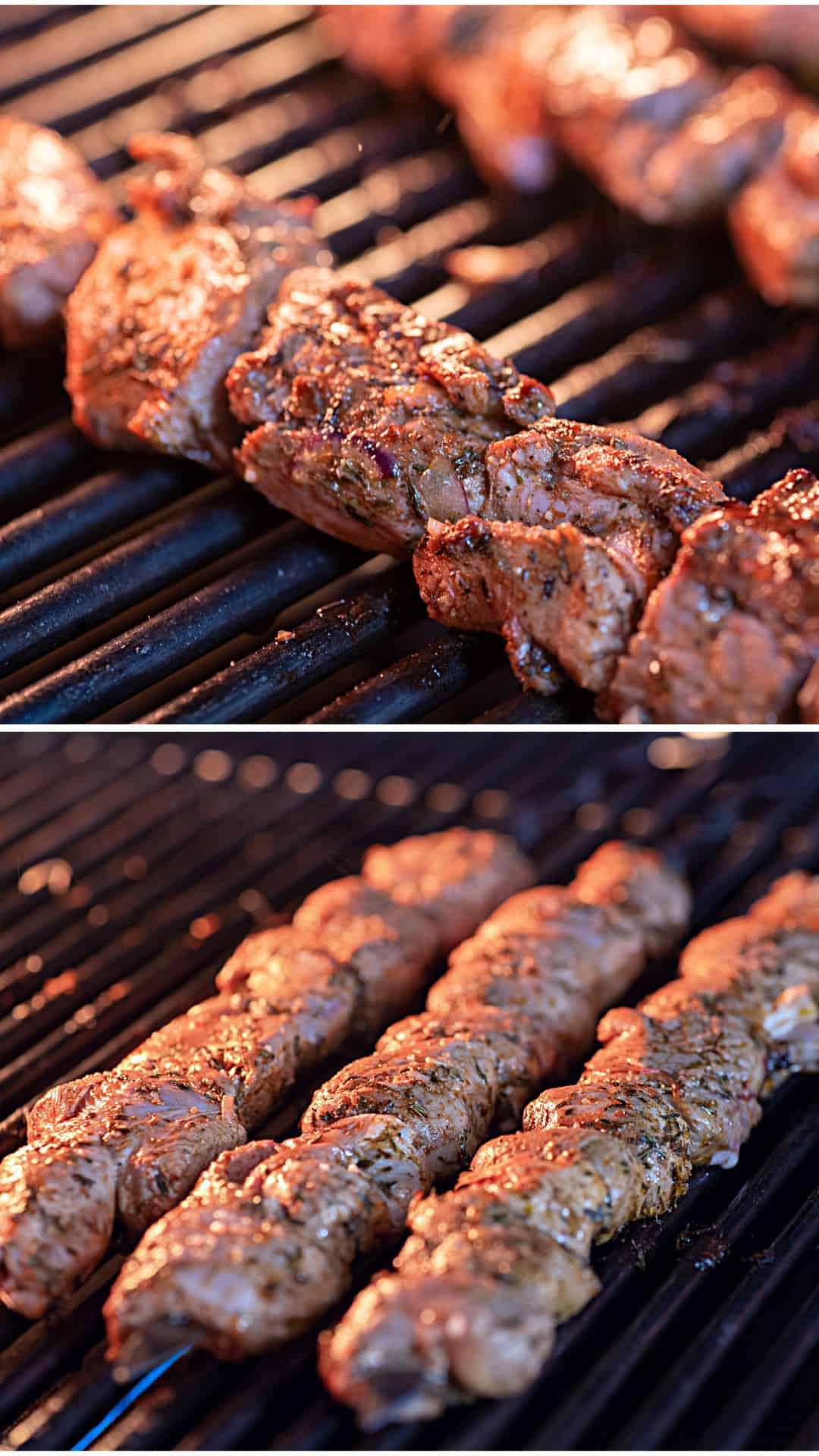Marinated Greek Lamb Souvlaki on a grill
