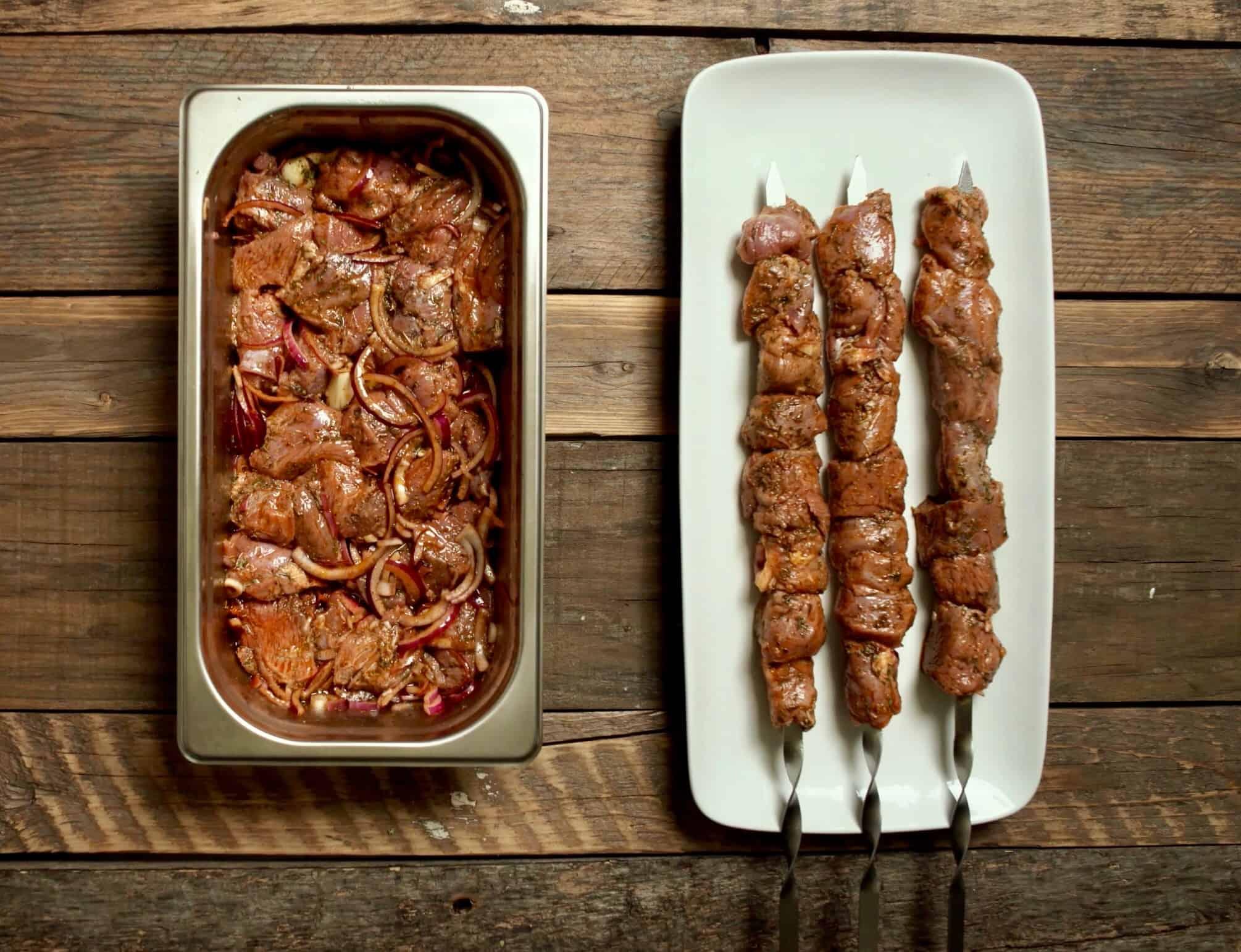 Marinated Greek Lamb Souvlaki skewers