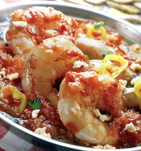 Greek Shrimp Saganaki recipe with Feta cheese (Garides Saganaki)