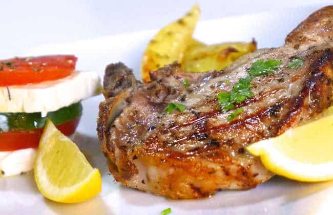 Greek Pork Chops Recipe with Roast Potatoes (Brizola sto Fourno)