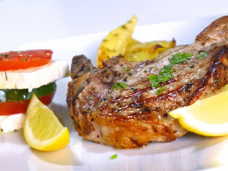 Greek Pork Chops Recipe with Roast Potatoes (Brizola sto Fourno)